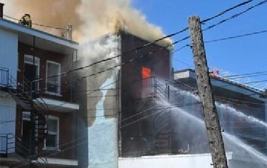 Montréal – Quartier Villeray : Un violent incendie enregistré dans un immeuble de trois étages