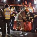 Un grave accident de la route sur le pont Pie-IX entre une voiture et un bus